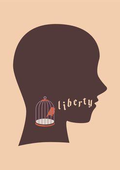 Bird in bird cage try to speak liberty word