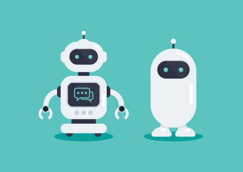 Two robots in vector illustration