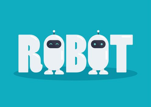 Robot word with two cute robot characters