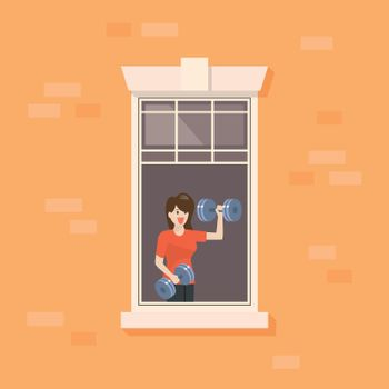 Apartment window with woman doing weight training exercise