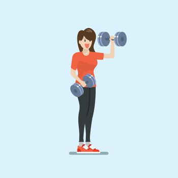 Woman doing weight training exercise