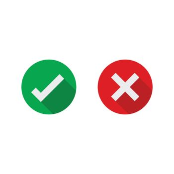 Cross and check mark icons