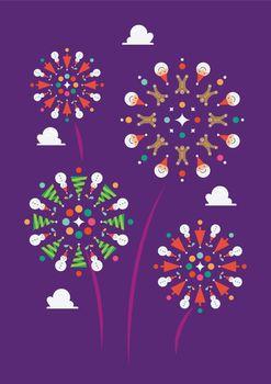 Christmas firework decoration elements