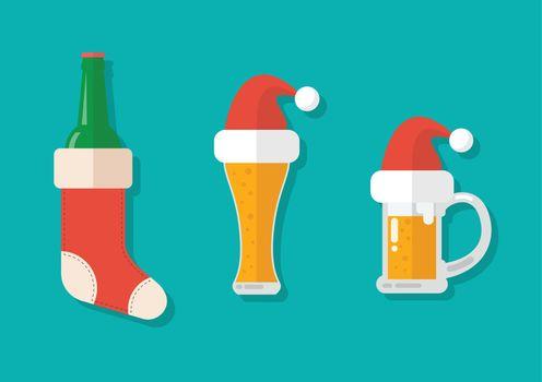 Christmas beer ale mug with christmas decoration