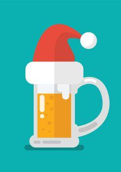 Christmas beer ale mug in Santa hat