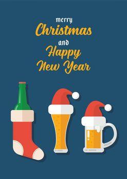 Christmas beer ale mug with christmas decoration greeting card