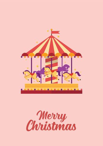 Merry Christmas greeting card Colorful carousel with horses