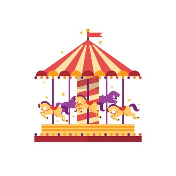 Colorful carousel with horses