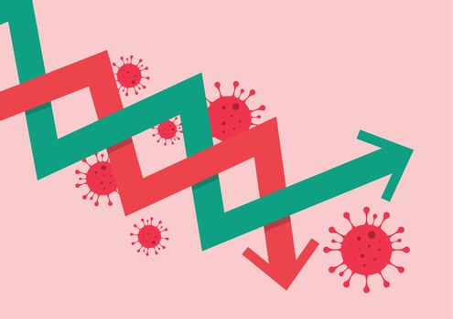 Stock market graph decrease due to COVID-19 pandemic