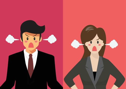 Angry business man and woman vector illustration