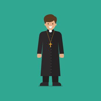 Catholic priest vector illustration