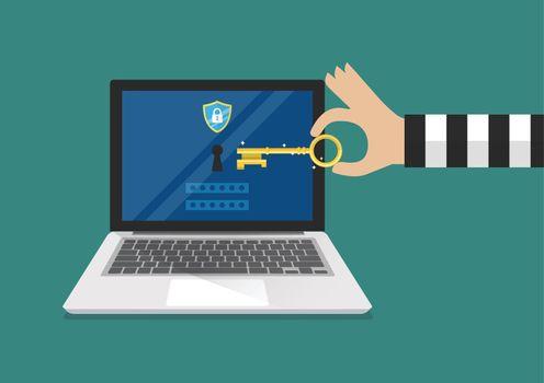 Hacker try to unlock laptop