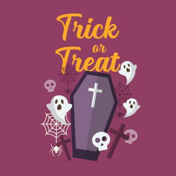 Trick or Treat with ghost and coffin
