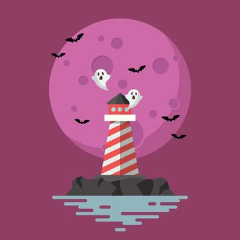 Haunted Lighthouse with moon on background