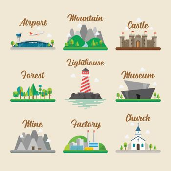 Buildings and landscape in flat style graphic design set