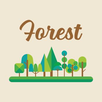 Forest in flat style graphic design