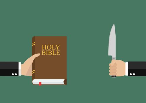 Man hold holy bible and other man hold knife