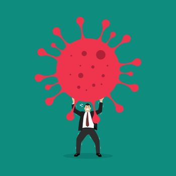 Businessman struggling to carry virus