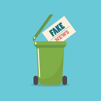 Fake News newspaper in bin