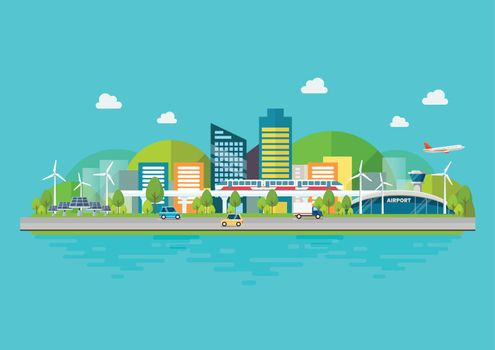 Sustainable eco friendly cityscape with Infrastructure and Transportation