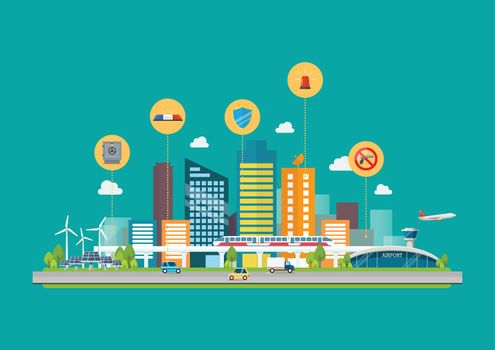 Cityscape with Infrastructure Transportation and security icons