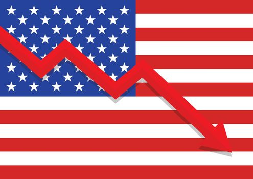Economic crisis with united state flag