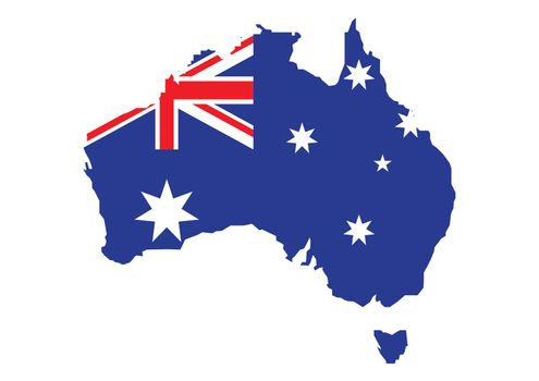 Flag of Australia placed over an outline map of Australia