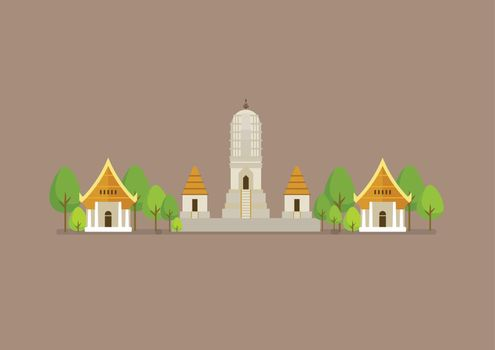 Historical ancient white temple vector illustration