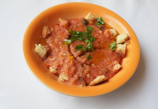 Spanish gazpacho dish