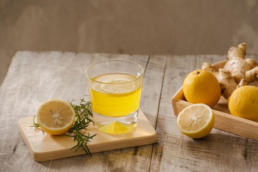 Ginger Ale or Kombucha in Bottle - Homemade lemon and ginger organic probiotic drink, copy space.