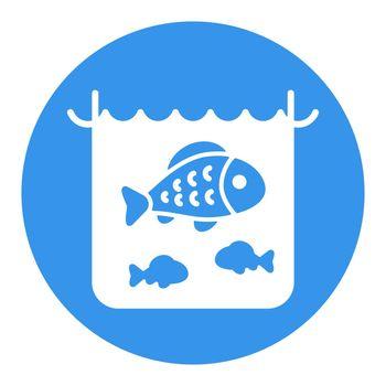 Fish in a pond or aquarium vector white glyph icon