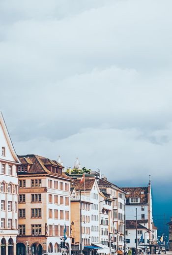 Cinematic view of historic Old Town streets and buildings near main train station Zurich HB, Hauptbahnhof, Swiss architecture and travel destination in Zurich, Switzerland
