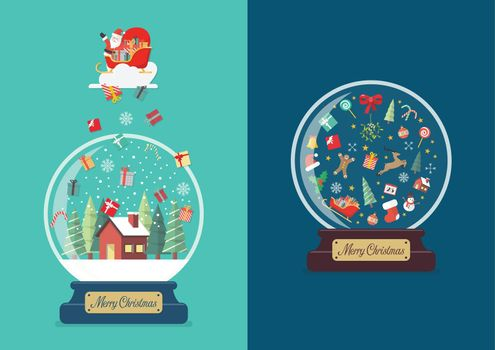 Merry christmas glass ball greeting cards collection