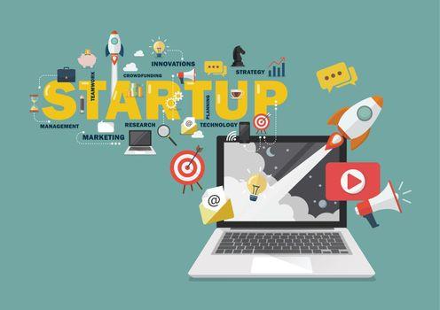 Digital marketing Startup business concept