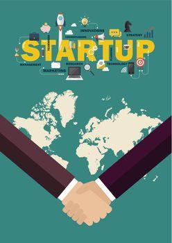 Partnership handshake startup concept