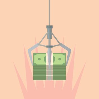 Robotic claw clutching a money