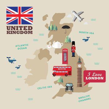 United kingdom national symbols with map