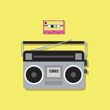 Retro radio player and cassette tape