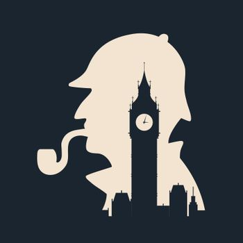 Sherlock holmes silhouette with Big Ben London