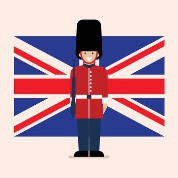 British Army soldier with United Kingdom flag background