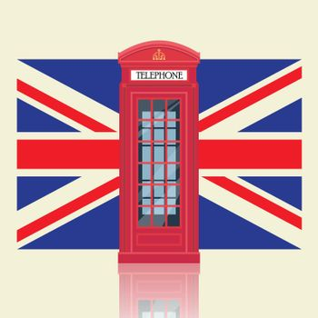 London red telephone booth with United Kingdom flag background