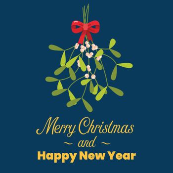 Merry Christmas with hanging mistletoe