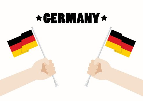 Germany National Day with Hands Holding Up Germany Flags