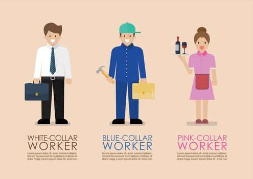 White Blue and Pink collar workers infographic