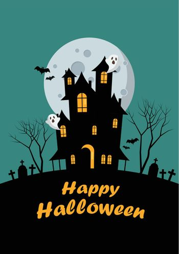 Halloween family and haunted house greeting card