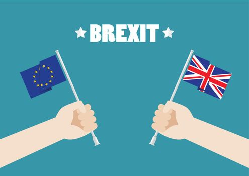 Hands holding European Union and British Union Jack flags