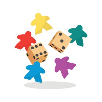 Multicolor meeple and dice vector illustration