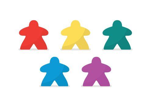 Multicolor meeples vector illustration