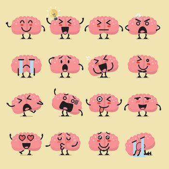 Brain character emoji set