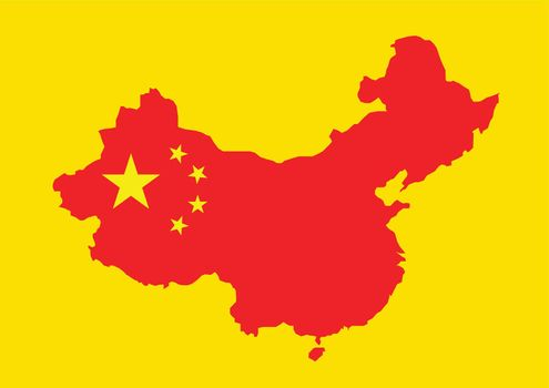 China map with china flag inside